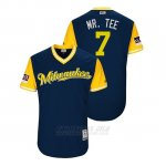 Camiseta Beisbol Hombre Milwaukee Brewers Eric Thames 2018 Llws Players Weekend Mr. Tee Azul