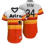 Camiseta Beisbol Hombre Houston Astros 34 Nolan Ryan Naranja Turn Back The Clock