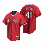 Camiseta Beisbol Hombre Cleveland Indians Carlos Santana Cooperstown Collection Road Rojo