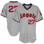 Camiseta Beisbol Hombre Los Angeles Angels Mensangels Mike Trout Gris 1977 Turn Back The Clock