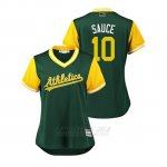 Camiseta Beisbol Mujer Oakland Athletics Marcus Semien 2018 Llws Players Weekend Sauce Green