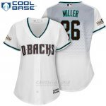 Camiseta Beisbol Mujer Arizona Diamondbacks 2017 Postemporada 26 Shelby Miller Blanco Cool Base