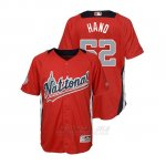 Camiseta Beisbol Nino All Star Game Majestic Brad Hand 2018 Primera Run Derby National League Rojo