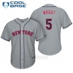 Camiseta Beisbol Hombre New York Mets 2017 Estrellas y Rayas David Wright Gris Cool Base