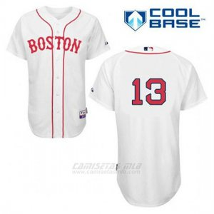 Camiseta Beisbol Hombre Boston Red Sox 13 Hanley Ramirez Blanco Alterno Primera Cool Base