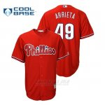 Camiseta Beisbol Hombre Philadelphia Phillies Jake Arrieta Cool Base Fashion Majestic Official Scarlet