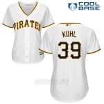 Camiseta Beisbol Mujer Pittsburgh Pirates Chad Kuhl Blanco Cool Base
