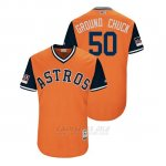 Camiseta Beisbol Hombre Houston Astros Charlie Morton 2018 Llws Players Weekend Ground Chuck Orange