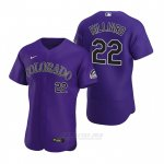 Camiseta Beisbol Hombre Colorado Rockies Sam Hilliard Autentico 2020 Alterno Violeta