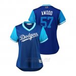 Camiseta Beisbol Mujer Los Angeles Dodgers Alex Wood 2018 Llws Players Weekend Awood Royal