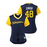 Camiseta Beisbol Mujer Milwaukee Brewers Joakim Soria 2018 Llws Players Weekend Junior Azul