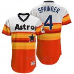 Camiseta Beisbol Hombre Houston Astros 4 George Springer Naranja Turn Back The Clock