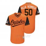 Camiseta Beisbol Hombre Baltimore Orioles Miguel Castro 2018 Llws Players Weekend Villa Hermosa Orange