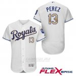 Camiseta Beisbol Hombre Kansas City Royals 13 Salvador Perez Blanco 2017 Flex Base
