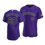 Camiseta Beisbol Hombre Colorado Rockies Ryan Castellani Autentico Alterno 2020 Violeta
