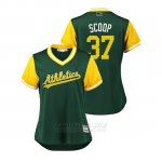 Camiseta Beisbol Mujer Oakland Athletics Edwin Jackson 2018 Llws Players Weekend Scoop Green