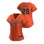 Camiseta Beisbol Mujer San Francisco Giants Buster Posey 2020 Replica Alterno Naranja