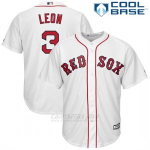 Camiseta Beisbol Hombre Boston Red Sox 3 Sandy Leon Blanco Cool Base