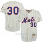 Camiseta Beisbol Hombre New York Mets 30 Nolan Ryan Crema Turn Back The Clock