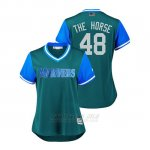 Camiseta Beisbol Mujer Seattle Mariners Alex Colome 2018 Llws Players Weekend The Horse Aqua