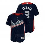 Camiseta Beisbol Nino All Star Game Majestic Alex Bregman 2018 Primera Run Derby American League Azul