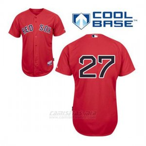 Camiseta Beisbol Hombre Boston Red Sox 27 Carlton Fisk Rojo Alterno Cool Base