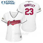 Camiseta Beisbol Mujer Cleveland Indians 2017 Postemporada 23 Michael Brantley Blanco Cool Base