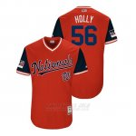 Camiseta Beisbol Hombre Washington Nationals Greg Holland 2018 Llws Players Weekend Holly Rojo