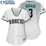 Camiseta Beisbol Mujer Arizona Diamondbacks 2017 Postemporada 3 Daniel Descalso Blanco Cool Base