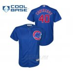 Camiseta Beisbol Nino Chicago Cubs 40 Willson Contreras Cool Base Alternato Azul