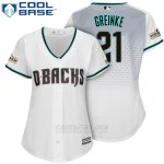 Camiseta Beisbol Mujer Arizona Diamondbacks 2017 Postemporada 21 Zack Greinke Blanco Cool Base