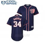 Camiseta Beisbol Nino Washington Nationals Bryce Harper Cool Base Majestic Alterno Replica Azul