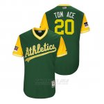 Camiseta Beisbol Hombre Oakland Athletics Mark Canha 2018 Llws Players Weekend Tom Ace Green