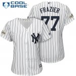 Camiseta Beisbol Mujer New York Yankees 2017 Postemporada Clint Frazier Blanco Cool Base
