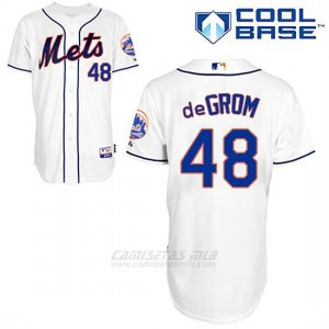 Camiseta Beisbol Hombre New York Mets Jacob Degrom 48 Blanco Alterno Cool Base
