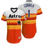 Camiseta Beisbol Hombre Houston Astros 1 Carlos Correa Naranja Turn Back The Clock