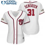 Camiseta Beisbol Mujer Washington Nationals 2017 Postemporada Max Scherzer Blanco Cool Base