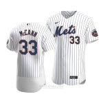 Camiseta Beisbol Hombre New York Mets James Mccann Autentico Primera Blanco