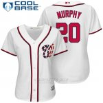 Camiseta Beisbol Mujer Washington Nationals 20 Daniel Murphy Blanco2017 Cool Base