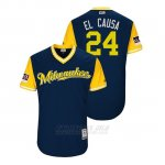 Camiseta Beisbol Hombre Milwaukee Brewers Jesus Aguilar 2018 Llws Players Weekend El Causa Azul