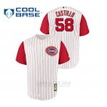 Camiseta Beisbol Hombre Cincinnati Reds 58 Luis Castillo Throwback 1961 Cool Base Blanco Rojo