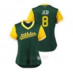 Camiseta Beisbol Mujer Oakland Athletics Jed Lowrie 2018 Llws Players Weekend Jedi Green