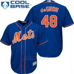 Camiseta Beisbol Hombre New York Mets Jacob Degrom 48 Azul Alterno Primera Cool Base