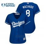 Camiseta Beisbol Mujer Los Angeles Dodgers Manny Machado Cool Base Majestic Alternato Royal