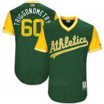 Camiseta Beisbol Hombre Oakland Athletics 2017 Little League World Series Andrew Triggs Verde