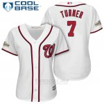 Camiseta Beisbol Mujer Washington Nationals 2017 Postemporada Trea Turner Blanco Cool Base