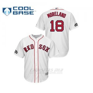 Camiseta Beisbol Hombre Boston Red Sox 18 Mitch Moreland Cool Base 2019 London Series Blanco