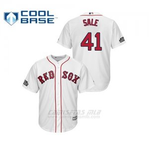Camiseta Beisbol Hombre Boston Red Sox 41 Chris Sale Cool Base 2019 London Series Blanco