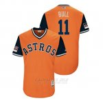 Camiseta Beisbol Hombre Houston Astros Evan Gattis 2018 Llws Players Weekend Bull Orange