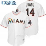 Camiseta Beisbol Hombre Miami Marlins 14 Martin Prado Blanco 2017 Cool Base